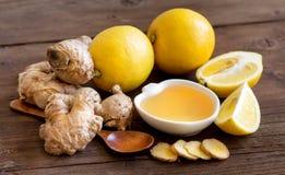 Honung, citron och ingefära Arkivbilder