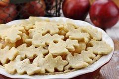 honung för flakes för äppleordningsägg inklusive mjölkar den unbaked oatpietabellen royaltyfria foton