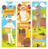 Honung från biodlinglantgården, beekeeper vektor illustrationer