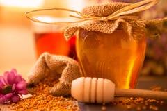 Honung, honungskaka, pollen och propolis Arkivbild