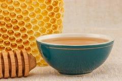 Honung i bunke med honungskakan fotografering för bildbyråer