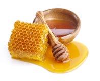 Honung med honungskakor royaltyfri fotografi