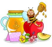 Honung och äpple Arkivfoton