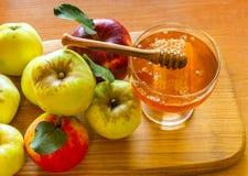 Honung och äpplet är symboler av det judiska nya året - roshhashanah Arkivbilder