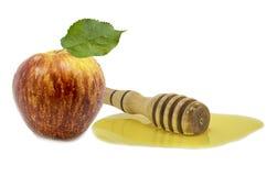 Honung och äpplet är symboler av roshhashanah Royaltyfri Foto