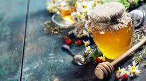 Honung och örtte Royaltyfria Bilder