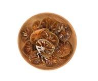 Honung och citron för bästa sikt Honungpinne och skivor av den skivade citronen royaltyfri foto