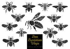 Honungbihumlor som getingar ställer in, skissar stil det monokromma samlingsmellanlägget påskyndar emblemsymboler royaltyfri illustrationer