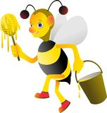 Honungbin är upptagen plockninghonung Arkivbild
