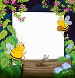 Honungbin och ett vitt bräde royaltyfri illustrationer