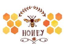 Honungetikett med biet och celler - roligt retro royaltyfri illustrationer