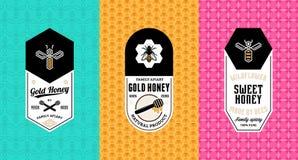 Honungetiketter, logo och förpackande design royaltyfri illustrationer