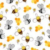 Honungmodell med honungskakan, bin och blommor Royaltyfri Foto