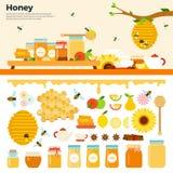 Honungprodukter på tabellen Fotografering för Bildbyråer