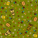 Honungskaka, björnar och bina. Sömlös modell Arkivbild