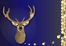 Honungskaka för modern design för sexhörning för vektorhipsterhjortar guld- på blå bakgrund Royaltyfri Foto