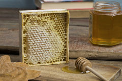 Honungskaka med honung Royaltyfri Bild