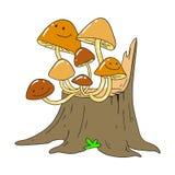 Honungsvamp på en trädstubbe Mycelium Flodhäst På en rosa bakgrund med palmblad Royaltyfri Fotografi