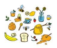 Honungsymboler ställde in med biblommor och frukt Stock Illustrationer
