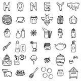Honungsymbolsuppsättning Arkivfoto