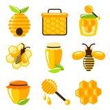 Honungsymbolsuppsättning Arkivbilder
