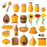 Honungsymbolsuppsättning, tecknad filmstil royaltyfri illustrationer