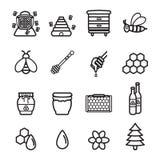 Honungsymbolsuppsättning Vektor EPS 10 Arkivbilder