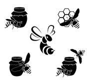 Honungvektorsymboler Royaltyfri Bild