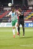 Honved对Ferencvaros (FTC) OTP银行同盟足球比赛 免版税库存照片