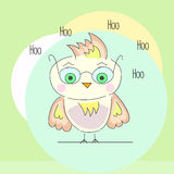 Hoo owl. With glasses at circle background Royalty Free Stock Photo