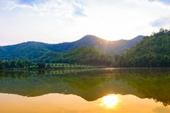 Hoob Khao Wong Reservoir, Danchang, Suphanburi, Thailand, stock afbeeldingen