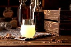 Hooch moonshine Tincture alcohol  propolis  herbs Stock Photo