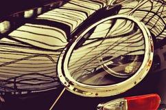 The hood and headlight stylish black retro car. Retro style. Royalty Free Stock Photography