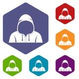 Hood icons set hexagon Royalty Free Stock Photo
