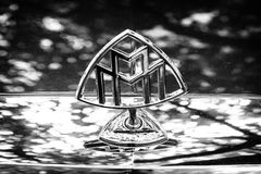 Hood ornament of a full-size luxury car Maybach S57. Royalty Free Stock Image