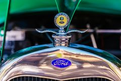 Hood ornament of a historical Ford royalty free stock image