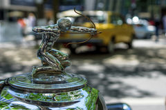 Hood ornament of the luxury car Pierce-Arrow, 1933. BERLIN - JUNE 17, 2017: Hood ornament of the luxury car Pierce-Arrow, 1933. Classic Days Berlin 2017 Stock Photos