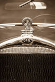 Hood ornament of the Opel 1.2-litre Cabrio-Limousine Stock Photos