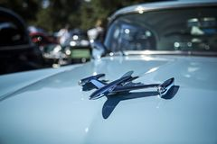 Hood Ornament on Vintage Automobile royalty free stock photography