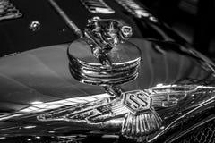 Hood ornamental car of Jaguar SS 100 Jaguar in the jump. Royalty Free Stock Photos