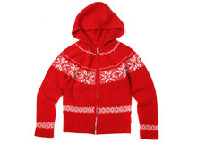 Hood red cardigan Royalty Free Stock Image
