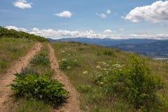 Hood River Mountain Loop Trail på mycket blåsig dag oregon Arkivbild