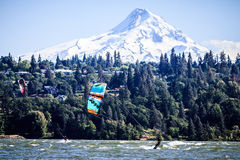 Hood River, Oregon - Mt Hood and Windsurfers. Hood River, OR has a lot to offer; a great trail network, world-class windsurfing and sailboarding, close to ski stock image