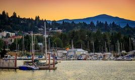 Boats dock at the Port of Hood River Marina on the Columbia River. Hood River, Oregon - Sep 2, 2018 : Boats dock at the Port of Hood River Marina on the Columbia royalty free stock photo