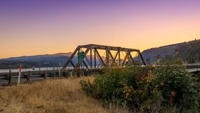 Underwood bridge over Columbia River, Oregon state at sunset. Hood River, Oregon - Underwood bridge over Columbia River, Oregon state at sunset stock photo