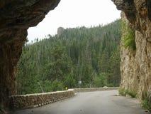 Hood Tunnel, South Dakota. Going through Hood Tunnel at Custer County, South Dakota royalty free stock photo