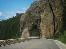 Hood Tunnel, South Dakota. Scenic drive approaching Hood Tunnel at Custer County, South Dakota royalty free stock photos