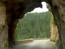 Hood Tunnel, South Dakota. View while going through the Hood Tunnel at Custer County, South Dakota stock images