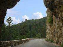 Hood Tunnel, South Dakota. View from inside the Hood Tunnel at Custer County, South Dakota royalty free stock images