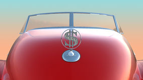 Hood and windscreen of red retro car Stock Photo
